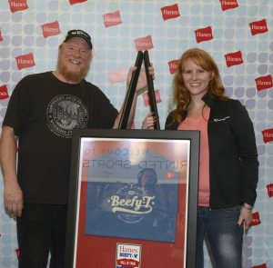 "Rick Roth and Rachel Newman at the ""Hanes Beefy-T T-shirt Hall of Fame"" induction ceremony"