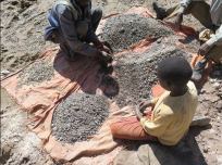Children working in cobalt mines; Image via Twitter