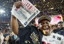 A University of Alabama player after the National Championship Game; Image via Al.com