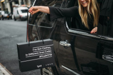 "Lyst and Uber's ""I've got clothes, in different area codes"" gift bag; Image via WWD"