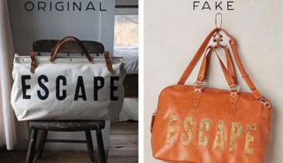 The side-by-side comparison of the two bags. Forestbound on the left, Anthropologie on the right; Image via Philadelphia Magazine