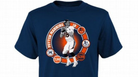 A T-shirt commemorating Peyton Manning's records; Image via ESPN