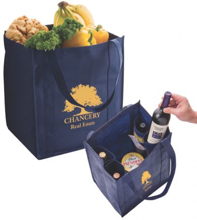 Grocery Bag with 4 Bottle Holders from American Ad Bag