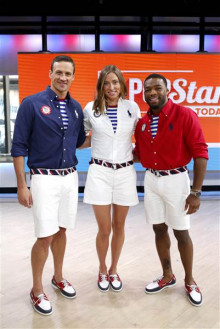 Olympians Ryan Lochte, Haley Anderson and Jordan Burroughs preview the Team USA closing ceremony uniforms. (Image via Today)