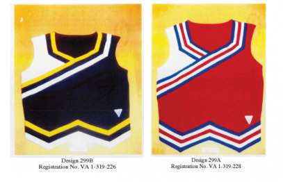 Two of the Varsity Brand cheerleading designs. (Image via Bloomberg)