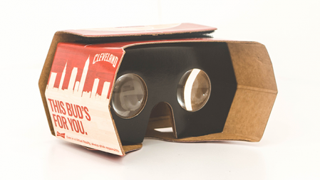The Budweiser and Cleveland Cavaliers VR headset was given away at last night's playoff game. (Image via Adweek)