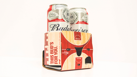 The Budweiser VR headset doubles as a drink carrier. (Image via Adweek)
