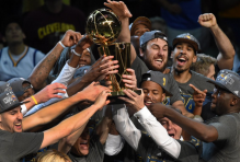 When a team wins a championship, like the Golden State Warriors (pictured here) did last year, they earn some of the most coveted promotional items in the world. (Image via Twitter)