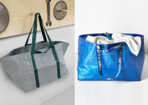 IKEA announced the redesigned FRAKTA bag (left), but still sells the original until the new one debuts in 2017. (Image via Twitter)