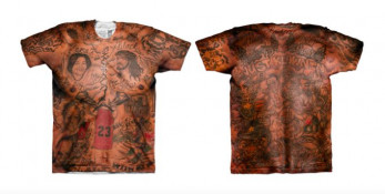 Fresh Brewed Tees is selling this T-shirt depicting J.R. Smith's tattoos. (Image via Complex)