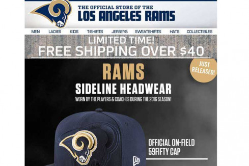 Rams fans in the St. Louis area received this email offer to buy Los Angeles Rams headwear. (Image via St. Louis Post-Dispatch)