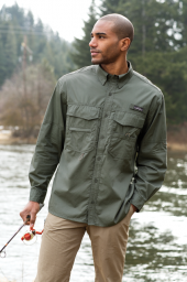 Eddie Bauer – Long Sleeve Fishing Shirt by SanMar Don't waste any precious fishing time—go straight from the office to the pond in this cotton poplin shirt. It has a built-in rod holder, zippered chest pocket, utility loop and tool holder, a cape back with mesh ventilation, and two large fly box pockets with hook and loop closures.