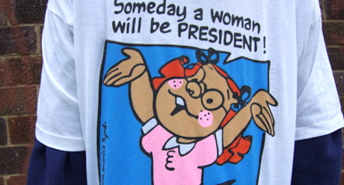 "In 1995, Wal-Mart removed T-shirts featuring the phrase, ""Someday a woman will be president."" (Image via Etsy)"