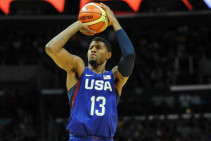 Nike gave Olympic athletes, like basketball player Paul George, personalized gift bags. (Image via Bleacher Report)
