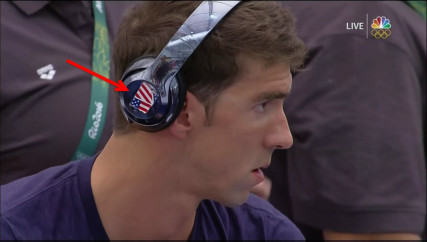 Michael Phelps got creative with covering the Beats logo. (Image via Business Insider)