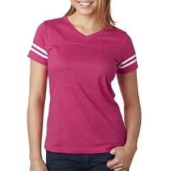 LA T Ladies' Fine Jersey Football Tee by Bodek and RhodesThese comfortable and stylish T-shirts are the perfect layering option for those early fall football games.