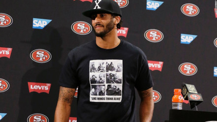Colin Kaepernick still is at the center of controversy for wearing this T-shirt back in August. (Image via CNN)
