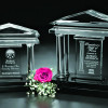 """Financial institutions use awards, like this Parthenon Award 10"""" by Crystal D, to celebrate employee achievements or customer service."""