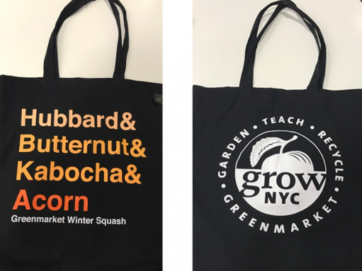 Front and back of my new Grow NYC tote bag