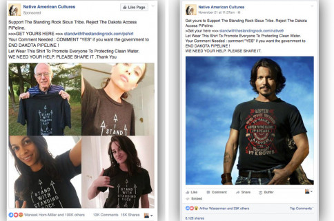 Facebook groups selling merchandise supporting protestors in North Dakota actually are foreign scammers. (Image via Buzzfeed)