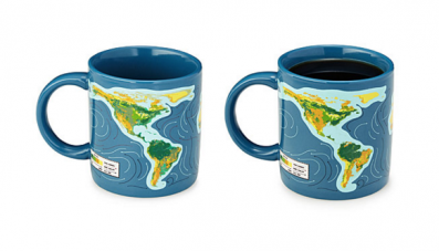 This coffee mug depicts rising sea levels when filled. (Image via Uncommon Goods)