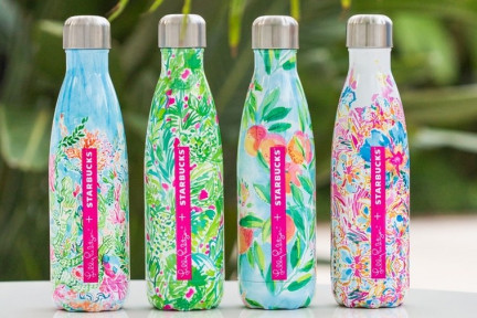 Starbucks teamed up with Lily Pulitzer for limited-edition S'well bottles. (Image via Teen Vogue)