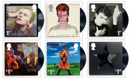Ten David Bowie-themed stamps made their way to the edges of the atmosphere to commemorate the artist's career and death. (Image via The Guardian)