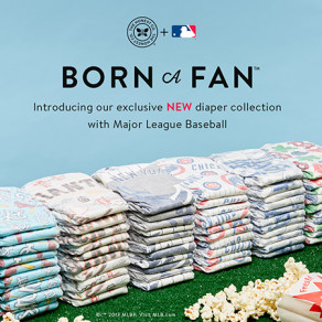 "The Honest Company unveiled its ""Born a Fan"" collection of MLB-branded diapers. (Image via Adweek)"