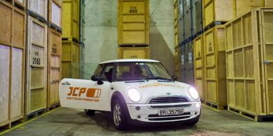 A Swedish ad agency donated its old branding and tons of promotional items, including a car, to a Romanian carwash. (Image via Adweek)