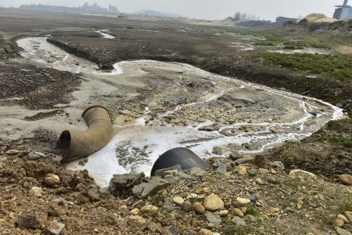 Wastewater near viscose plants in China. (Image via BuzzFeed)