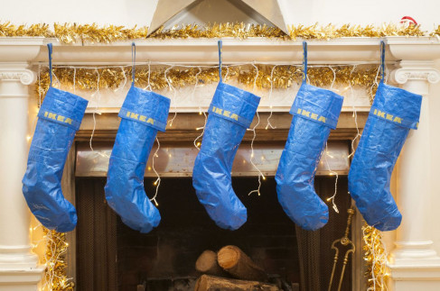 Ikea blue tote bags transformed into holiday stockings.