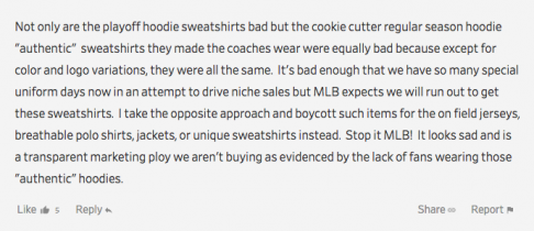 1a6261bb4b8 This commenter starts strong by condemning MLB s regular-season coaches  sweatshirts for being too