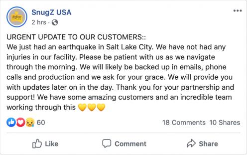 SnugZ USA Facebook post