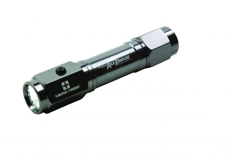 K&R Precision's Swiss Force Emergency Flashlight Tool has a gunmetal body and an easy grip design.