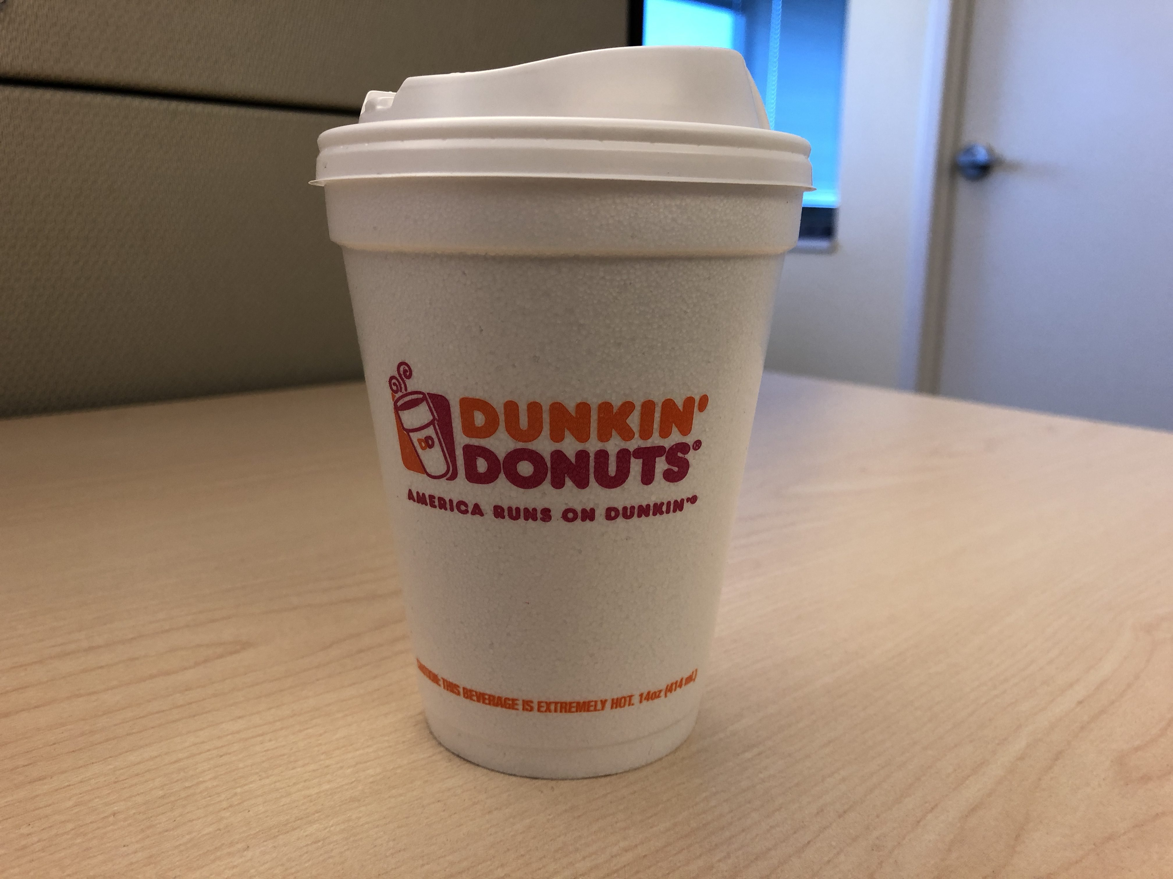 Dunkin' orders its coffee in a paper cup